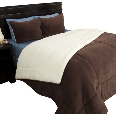 Bilmont Reversible Comforter Set Size: King, Color: Chocolate