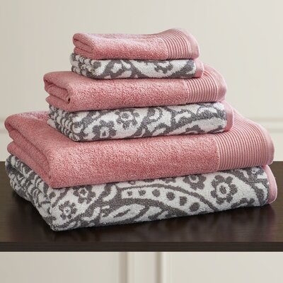 Libby 6 Piece Towel Set Color: Gray / Pink