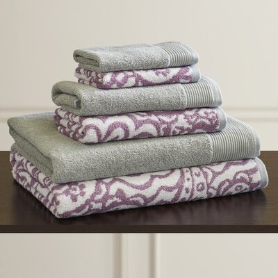 6 Piece Towel Set Color: Mauve / Gray