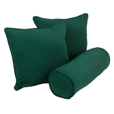 Barkbridge Outdoor 100% Cotton Throw And Bolster Pillow Set Color: Forest Green