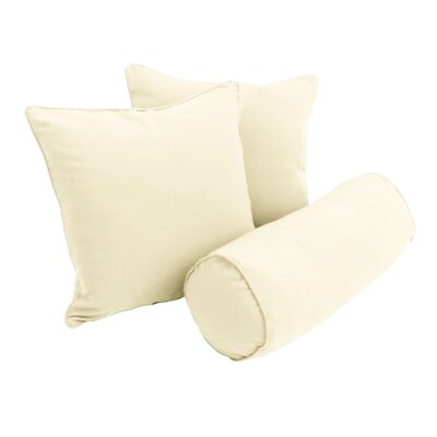 Barkbridge 3 Piece Solid Package Indoor/Outdoor Throw and Bolster Pillow Set Color: Eggshell