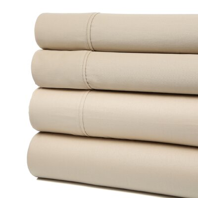 Buford 300 Thread Count 100% Cotton Sheet Set Color: Ivory, Size: King