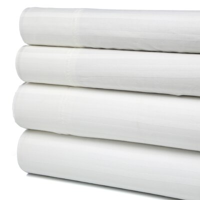 Buford 300 Thread Count 100% Cotton Sheet Set Color: White, Size: Queen