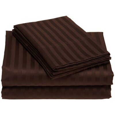 Buford 300 Thread Count 100% Cotton Sheet Set Color: Chocolate, Size: Queen
