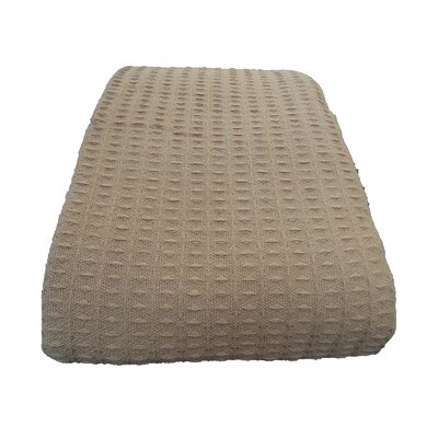 Naumann Waffle Cotton Blanket Color: Tan, Size: Full/Queen