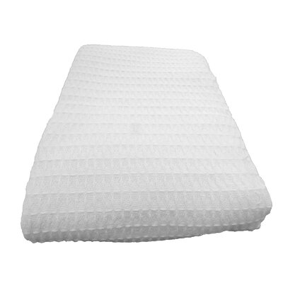 Naumann Waffle Cotton Blanket Color: White, Size: Full/Queen