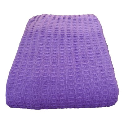 Naumann Waffle Cotton Blanket Color: Purple, Size: Full/Queen