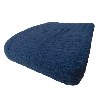 Naumann Waffle Cotton Blanket Color: Blue, Size: Full/Queen