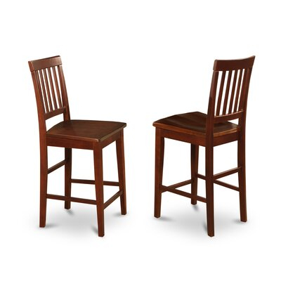 Givens Bar Stool (Set of 2) Finish: Buttermilk and Cherry, Seat: Microfiber Upholstery