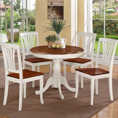Ranshaw 5 Piece Dining Set Finish: Buttermilk White/Cherry