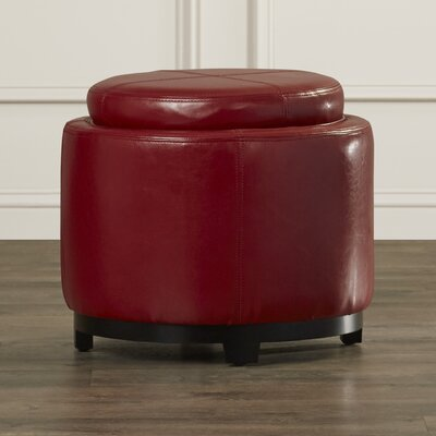 Baytown Leather Ottoman Upholstery: Red