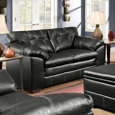 Merriwood Leather Loveseat Upholstery: Onyx