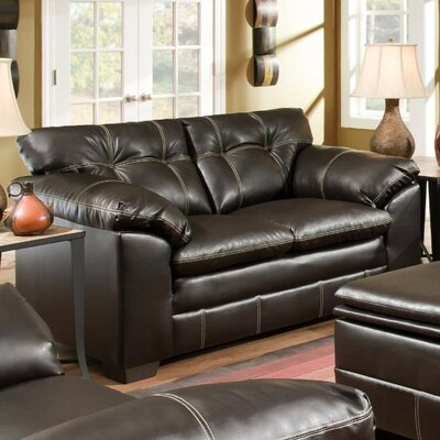 Merriwood Leather Loveseat Upholstery: Chocolate