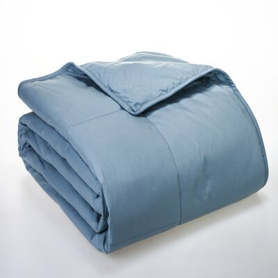 Syracuse All Natural Down Alternative 100% Cotton Filled Blanket Size: Full / Queen, Color: Smoke Blue