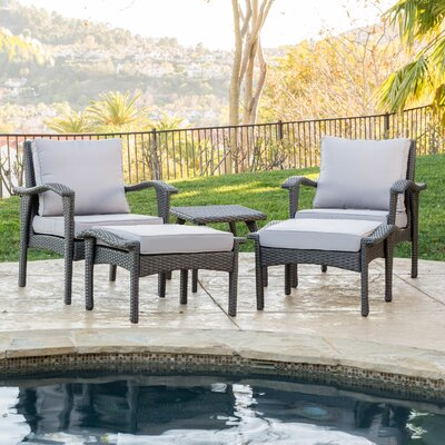 Springboro 5 Piece Deep Seating Group with Cushions Fabric: Grey