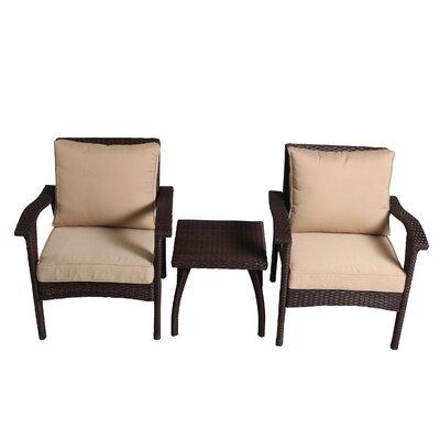 Springboro 3 Piece Chat Set with Cushions Finish: Brown