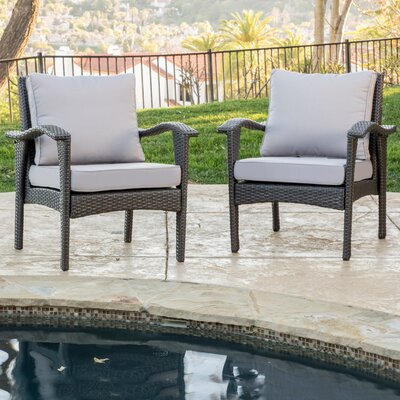 Crane Wicker Club Chair with Cushion Finish: Grey