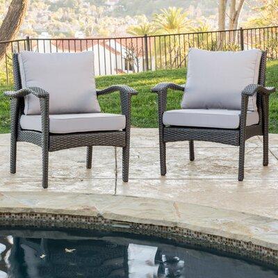 Crane Wicker Club Chair with Cushion Finish: Grey