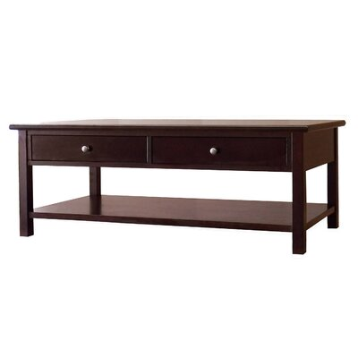 Blevins 2 Drawer Coffee Table in Dark Birch