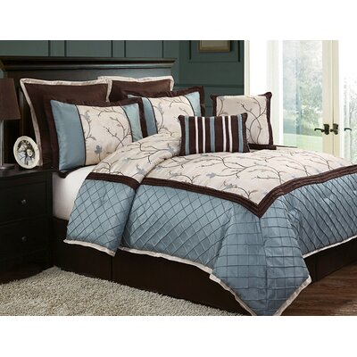 Hilliard 8 Piece Comforter Set Size: Queen, Color: Blue