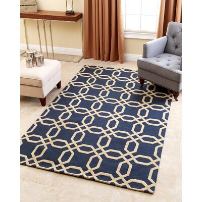 Hadley Navy Geometric Wool Hand-Tufted Area Rug