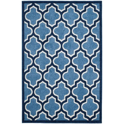 Amherst Light Blue/Navy Indoor/Outdoor Area Rug Rug Size: 2'6