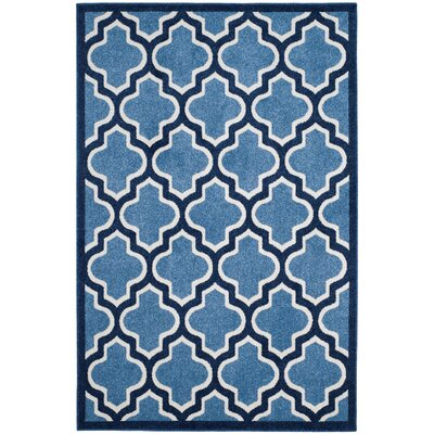 Amherst Light Blue/Navy Indoor/Outdoor Area Rug Rug Size: 4' x 6'