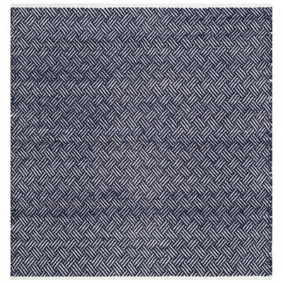 Boston Hand-Woven Navy Area Rug Rug Size: Square 8