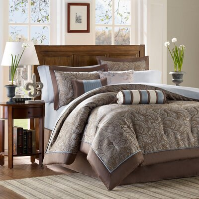 Pokanoket 6 Piece Duvet Cover Set Size: Full/Queen, Color: Brown / Blue