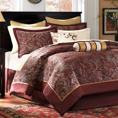 Pokanoket 12 Piece Reversible Comforter Set Size: California King, Color: Burgundy
