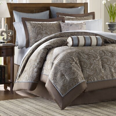 Pokanoket 12 Piece Reversible Comforter Set Size: California King, Color: Blue