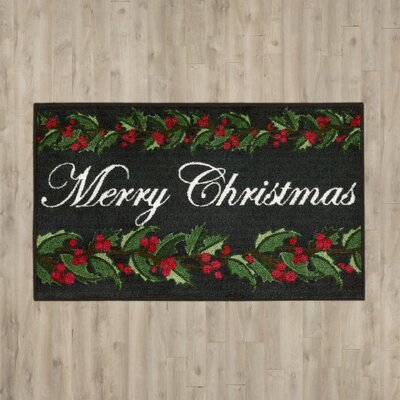 Brasstown Merry Christmas with Holly Doormat