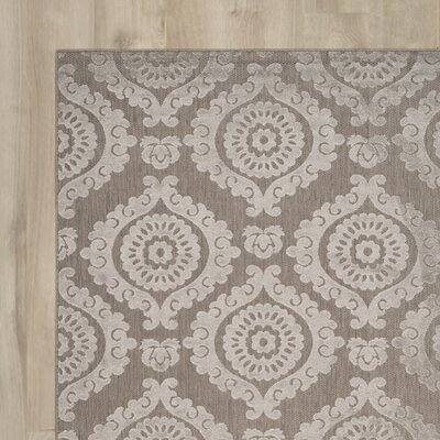 Hughes Suzani Taupe Indoor / Outdoor Area Rug Rug Size: Rectangle 4 x 6