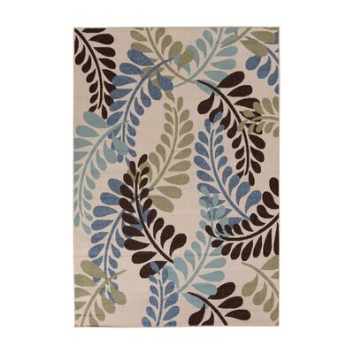 Dogwood Cream/Aqua Indoor/Outdoor Area Rug Rug Size: Rectangle 53 x 77