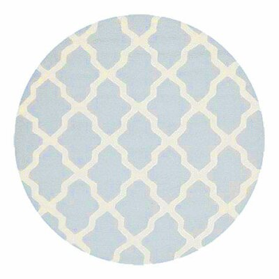 Sugar Pine Hand-Tufted Blue/Ivory Area Rug Rug Size: Round 6