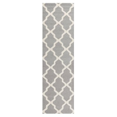 Sugar Pine Hand-Tufted Silver/Ivory Area Rug Rug Size: Runner 26 x 18