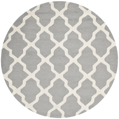 Sugar Pine Hand-Tufted Silver/Ivory Area Rug Rug Size: Round 6' x 6'