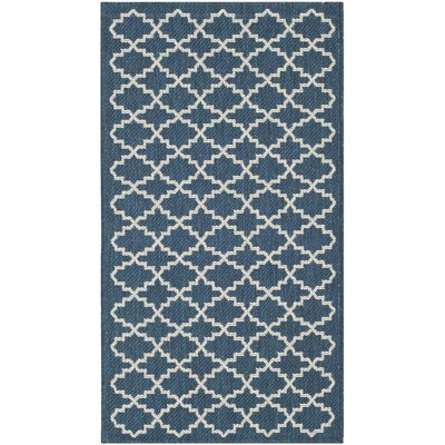 Louisville Navy/Beige Indoor/Outdoor Area Rug Rug Size: Rectangle 27 x 5