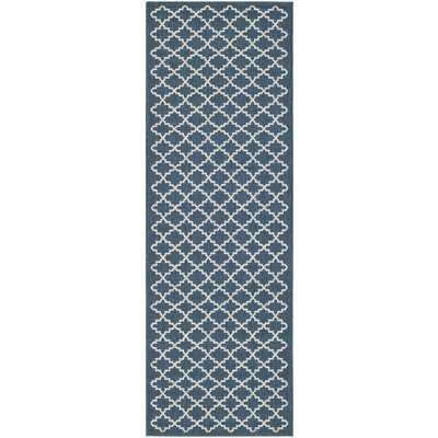Louisville Navy/Beige Indoor/Outdoor Area Rug Rug Size: Runner 23 x 18