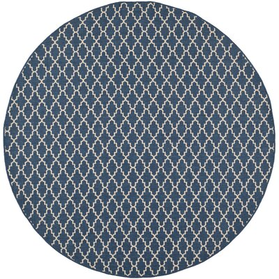 Louisville Navy/Beige Indoor/Outdoor Area Rug Rug Size: Round 4
