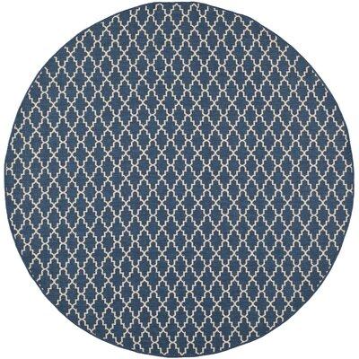 Louisville Navy/Beige Indoor/Outdoor Area Rug Rug Size: Round 67