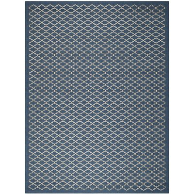 Louisville Navy/Beige Indoor/Outdoor Area Rug Rug Size: 8 x 11