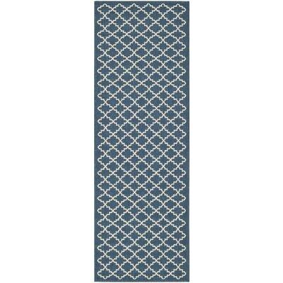 Louisville Navy/Beige Indoor/Outdoor Area Rug Rug Size: Runner 23 x 18