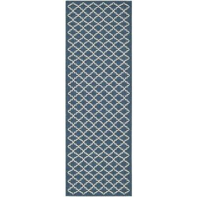 Louisville Navy/Beige Indoor/Outdoor Area Rug Rug Size: Runner 2'3