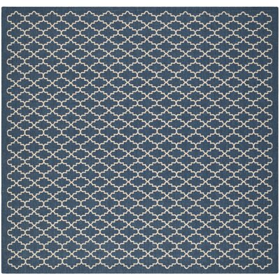 Louisville Navy/Beige Indoor/Outdoor Area Rug Rug Size: Square 4