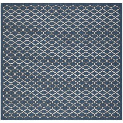 Louisville Navy/Beige Indoor/Outdoor Area Rug Rug Size: Square 5'3