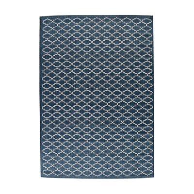 Louisville Navy/Beige Indoor/Outdoor Area Rug Rug Size: 53 x 77