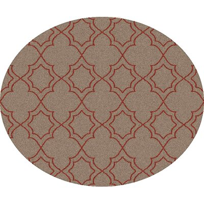 Amato Beige/Red Indoor/Outdoor Area Rug Rug Size: Round 73