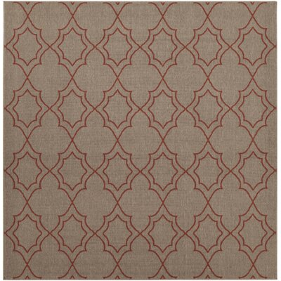 Amato Beige/Red Indoor/Outdoor Area Rug Rug Size: Square 89