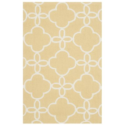 Hand-Hooked Gold/Ivory Indoor/Outdoor Area Rug Rug Size: Rectangle 36 x 56